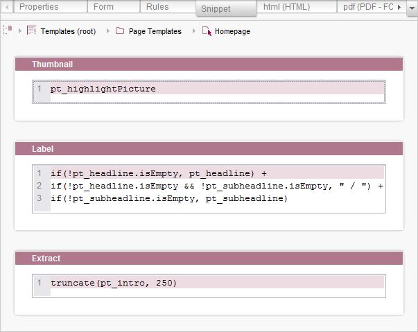 FirstSpirit Online Documentation - Snippets