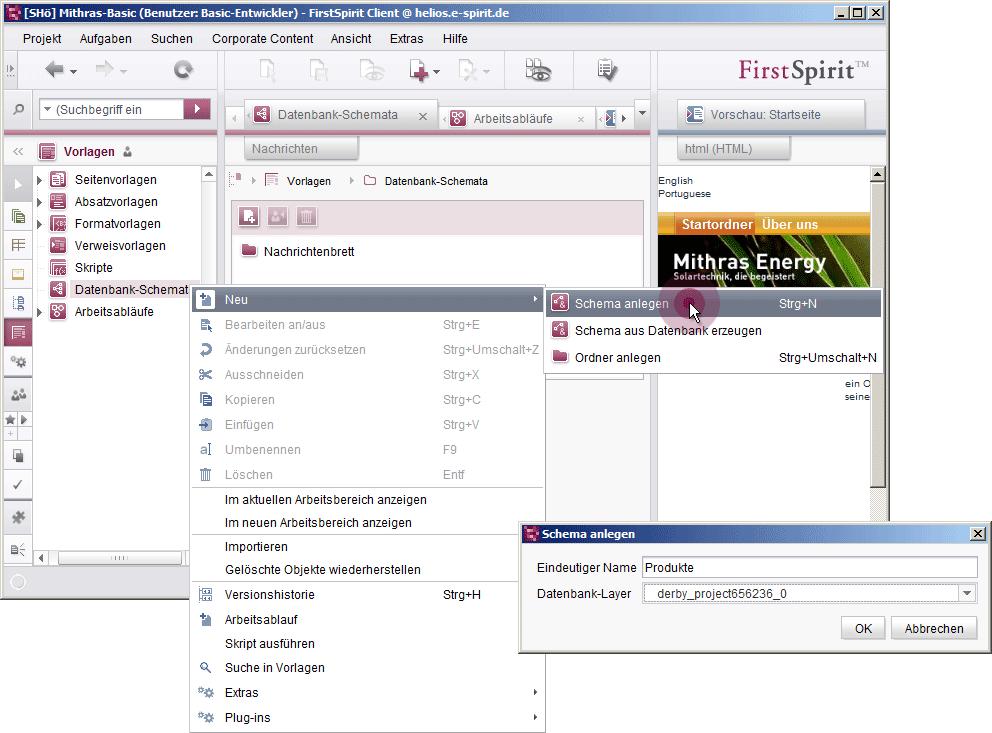 Online Dokumentation FirstSpirit - Datenbankschema anlegen
