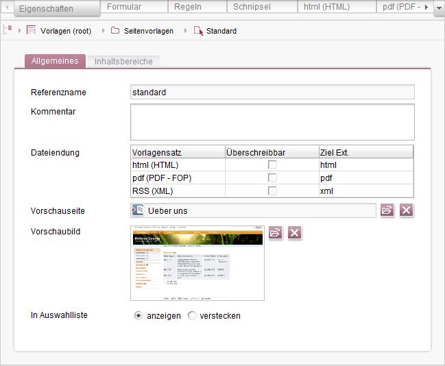 Online Dokumentation FirstSpirit - Register Eigenschaften